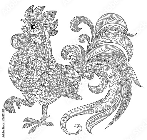 chinese new year 2017 coloring pages Rooster in zentangle style. Symbol of Chinese New Year 2017. Adult  chinese new year 2017 coloring pages