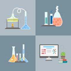 Chemistry infographics banners set flat vector illustration