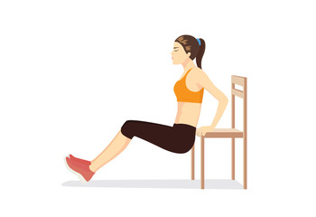 Woman workout with chair for body firming. Illustration about healthy even though no time.
