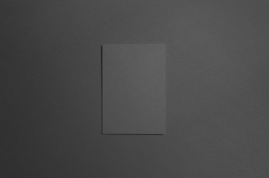 Black A6 Bi-Fold / Half-Fold Brochure Mock-Up - Front