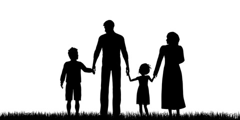 Silhouette of a refugees family with children
