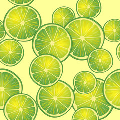 Vector illustration of lime slices on yellow background in different angles. Pattern.