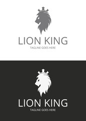 King logo. Lion king.  Two versions. Logo template suitable for businesses and product names. Easy to edit, change size, color and text.