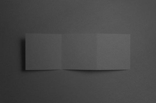Black Square Z-Fold Brochure Mock-Up