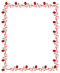 Round frame with red roses. Vector clip art.