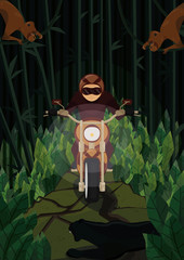 A biker making his way through the jungle - good example of extreme vacation, hobby or adventure