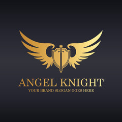 Angel knight. Knight logo. Sword and shield illustration.