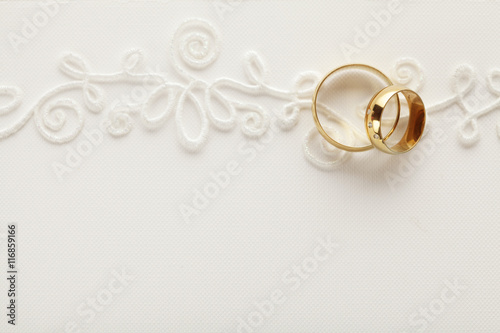 wedding invitation background with wedding rings Stock photo and