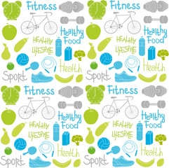 pattern of the symbols of a healthy lifestyle