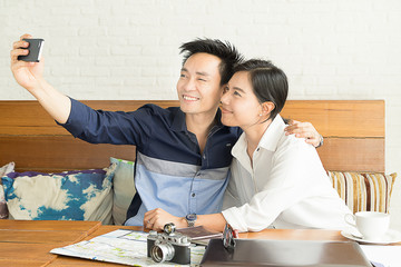 asian people selfie ,one man and one woman
