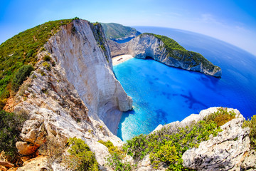 Zakynthos shipwreck beach. Navagio Bay panorama with no boats an