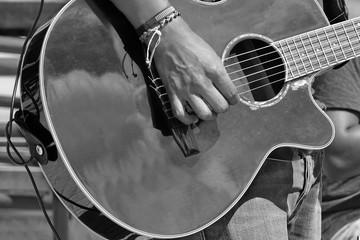 Street Musical Band Play Latin Music,  Close-up Of  Guitarist Ha