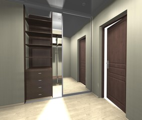 wardrobe with mirrored sliding doors 3D rendering, inner filling