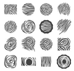 Wood texture logo icon set