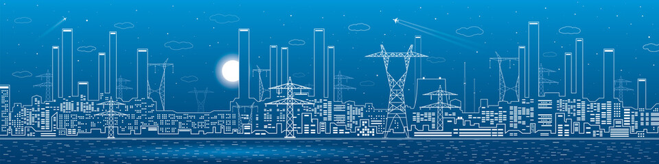 Wall Mural - Power plant on the water, electricity lines, energy and industrial panoramic, infrastructure, vector design art