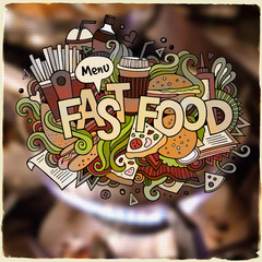 Fastfood hand lettering and doodles elements