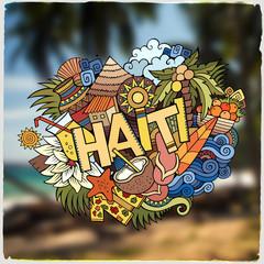 Haiti hand lettering and doodles elements emblem