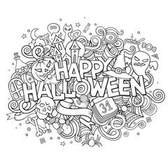 Cartoon vector hand drawn Doodle Happy Halloween illustration