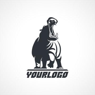 hippopotamus  logo on white background
