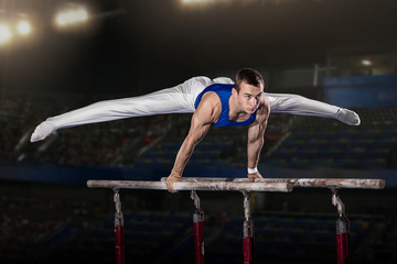 In de dag Gymnastiek portrait of young man gymnasts