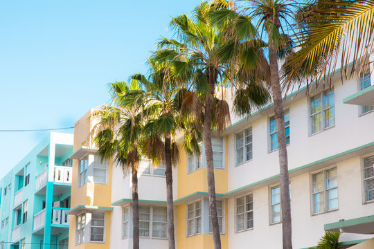 Example of typical retro Art Deco style architecture seen in South Beach, Miami