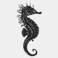 Hand drawn graphic seahorse. Vector illustration. Tattoo sketch. Sea collection. Isolated on a white background