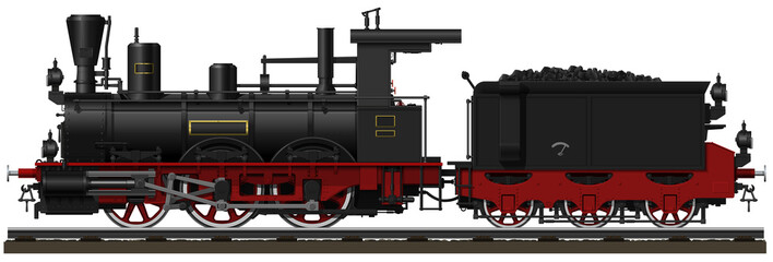 The old black steam locomotive with tender