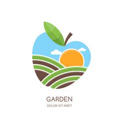 Fruit gardens and farming vector logo, label, emblem design. Fields landscape in apple shape. Concept for agriculture, harvesting, gardens, natural farm, organic products.