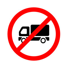 No truck or no parking sign on white background