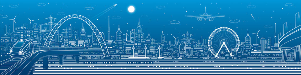 Wall Mural - Industrial and transport panorama, urban skyline, white lines landscape, night city, airplane fly, train on the bridge, vector design art