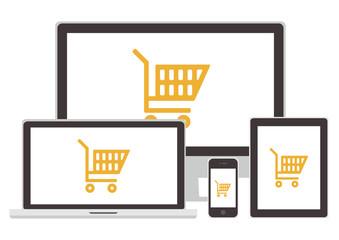 "Vector set : The sign ""online shopping"" (Gadgets - laptop, desktop computer, smart phone, tablet)"