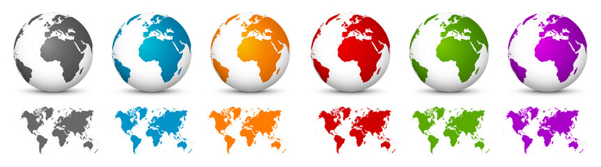 White 3D Vector Globes with World Maps in Same Color. Planet Earth Collection with Colorful Continents Wall mural