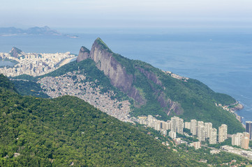 Scenic landscape skyline view of the Two Brothers Mountain from the popular hiking destination of Pedra Bonita in the Tijuca National Forest in Rio de Janeiro, Brazil
