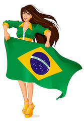 Beautiful woman fan holding Brazilian flag