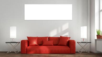 Panorama Leinwand an Wand über Sofa