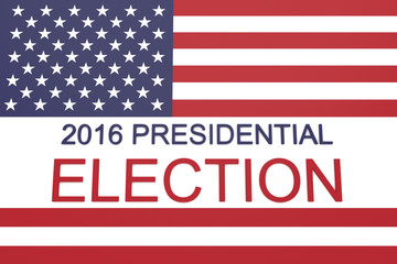 2016 US Presidential election with Stars and Stripes, 3d illustration
