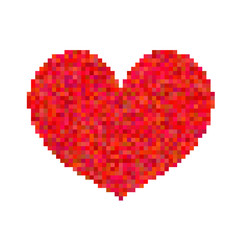 Pixel heart isolated on white background.