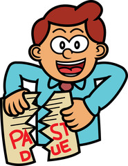 Man Tearing Past Due Paper Cartoon Illustration
