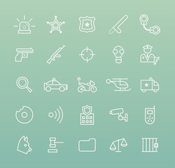 Set of Quality Isolated Universal Standard Minimal Simple Police White Thin Line Icons on Color Background.