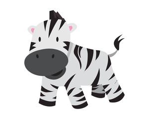 Flat Animal Character Logo - Zebra