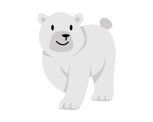 Flat Animal Character Logo - Polar Bear