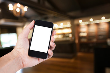 Person using smartphone white screen holder on hand with blurry