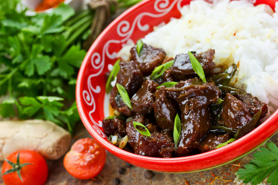 Chinese mongolian beef stir fry