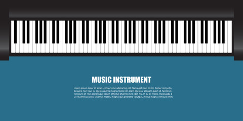 Music instrument background, Flat designed vector illustration