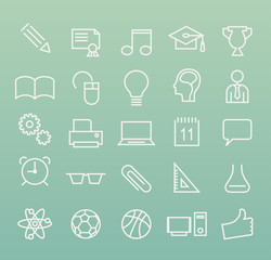Set of White Minimal Simple Education Thin Line Icons on Color Background.