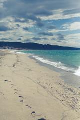 sea landscape in a summer day  in northwest coast of Sardinia, windy day