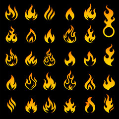 Colored Fire and Flames vector icon set 2