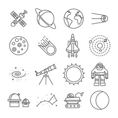 Space Universe Isolated Icon Set