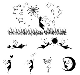 Fairy silhouette set,vector
