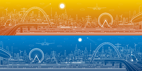 Industrial and transport panorama, urban skyline, white lines landscape, day and night city, airplane fly, train on the bridge, vector design art